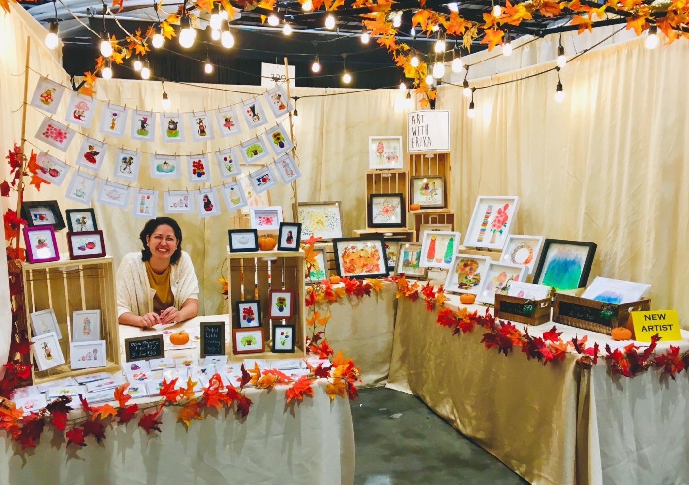 Art With Erika artist booth at the San Jose harvest Festival in 2018